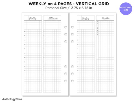 PERSONAL Filofax Weekly Vertical GRID Printable Insert Ring Binder with Tracker WO4P Fancy Script