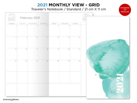2021 MONTHLY View Insert Standard Size Traveler's Notebook - Printable Insert Diary PDF MONDAY Start