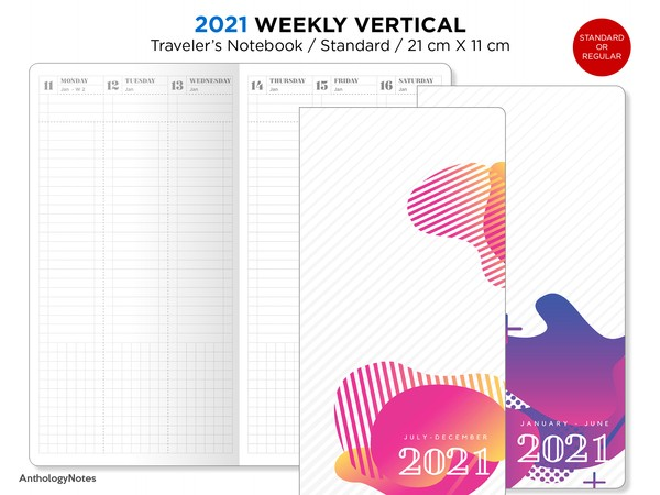 2021 Weekly VERTICAL TN Minimalist Functional PRINTABLE Insert Regular Bonus: 2020 Version