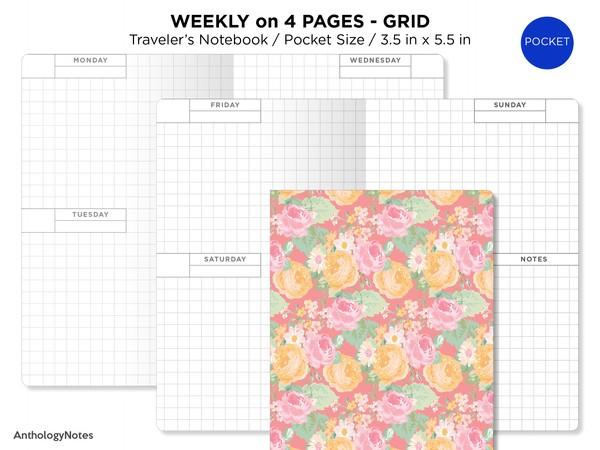 POCKET TN Weekly Planner Printable Insert Wo4P GRID Horizontal Week on 4 Pages Undated, Minimalist,