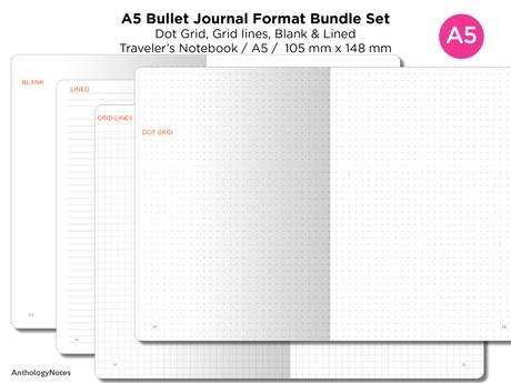 A5 Bullet Journal Traveler's Notebook BUJO Format Bundle Set - Grid, Blank, Dot Grid, Blank - Printa