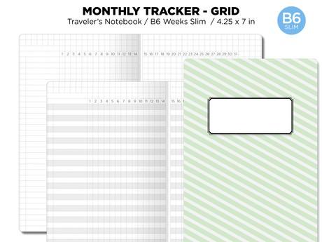 B6 SLIM Monthly Tracker GRID Printable Insert Traveler's Notebook Undated