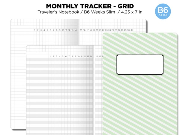 B6 SLIM Monthly Tracker GRID Printable Insert Traveler's Notebook Undated