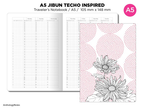 JIBUN Techo True A5 Weekly GRID Traveler's Notebook Vertical Japanese Planner Inspired Functional