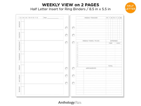 Weekly View Half Letter Printable Planner With Weekly Tracker, Expenses, Task List, Appointments