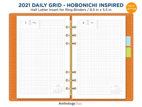 2021 HALF LETTER Daily Hobonichi Inspired GRID - Planner Refill Printable Filofax Insert