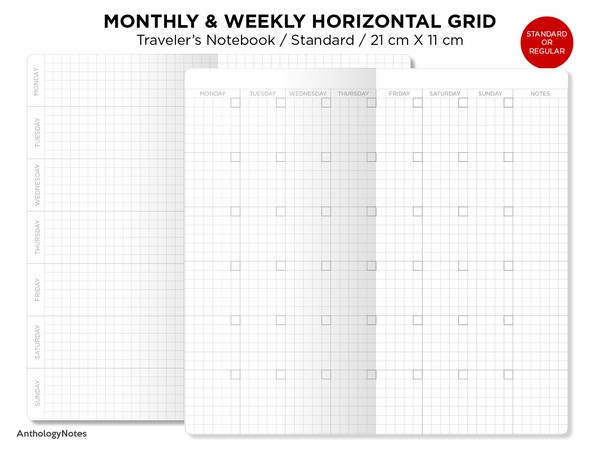 Weekly & Monthly Planner Undated Traveler's Notebook Printable Insert Refill - Standard Size - GRID