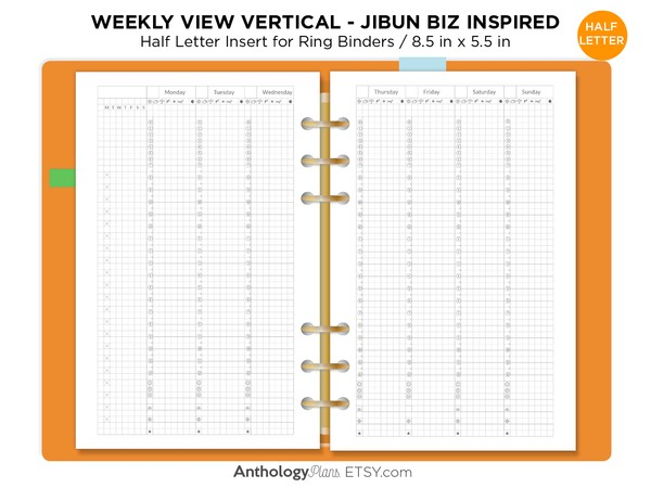 Half Letter Jibun Inspired WEEKLY View Vertical GRID Printable Planner Refill for Ring or Disc Bound