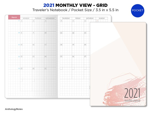 2021 POCKET Monthly GRID Traveler's Notebook Printable Insert BONUS: 2020 Version