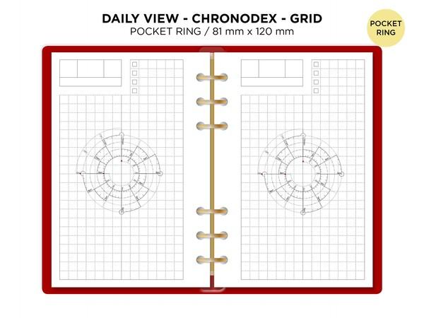 Pocket Daily Chronodex - GRID - fits Filofax Ring Binder - Do1P Minimalist