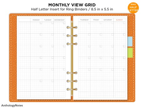 Half Letter Monthly View Ring Filofax Printable UNDATED Planner GRID Mo2P Monday or Sunday Start