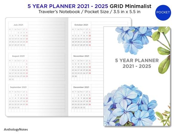 POCKET TN 5 Year Planner 2021 - 2025 Horizontal Grid Minimalist - PDF Traveler's Notebook Printable