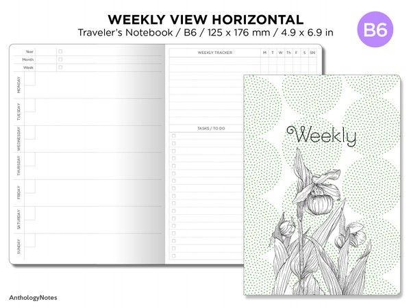 B6 Weekly Horizontal Minimalist Wo1P Traveler's Notebook Printable Planner Undated - Tracker, To Do