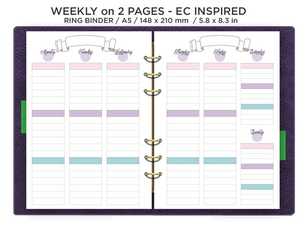 A5 Weekly fits EC Stickers Vertical Wo2P Planner Insert Printable Filofax  Pink Purple