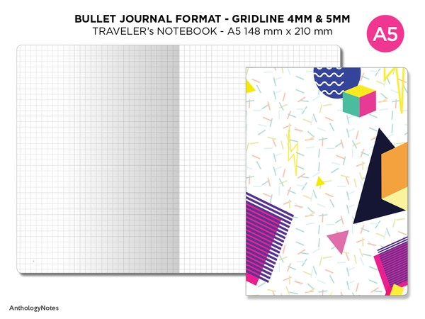 Bullet Journal GRID - Traveler's Notebook A5 - Bujo Format - Numbered Pages, Key Page, Index Page
