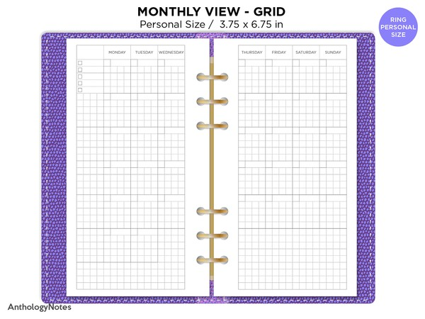 Monthly View GRID PERSONAL Filofax Printable Refill Undated Hobonichi Inspired