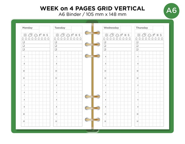 A6 Ring Weekly on 4 Pages Vertical GRID Minimalist Functional MONDAY or SUNDAY Start