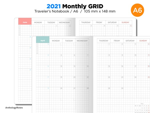 A6 2021 Monthly GRID Traveler's Notebook Printable Diary Insert BONUS: 2020 Version