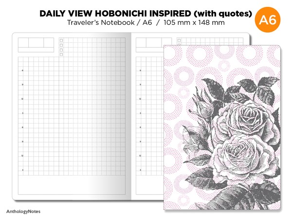 Hobonichi TN Insert - A6 Size - Traveler's Notebook Printable - Do1P - Minimalist - Daily View