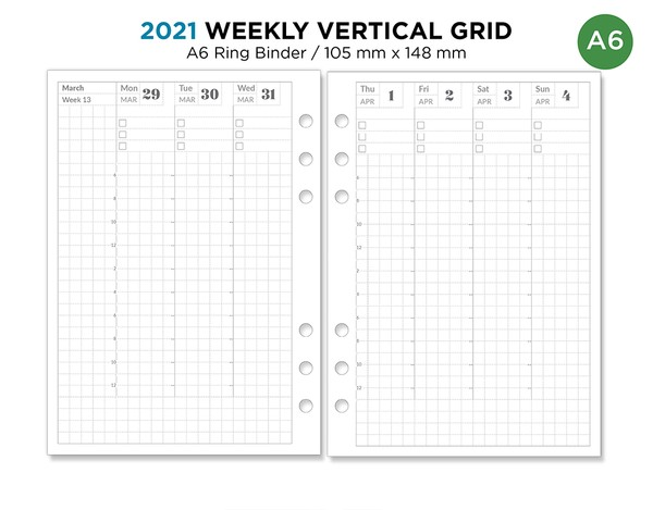 A6 Ring Binder 2021 Weekly VERTICAL Grid Printable Planner Insert Minimalist Hobonichi Inspired