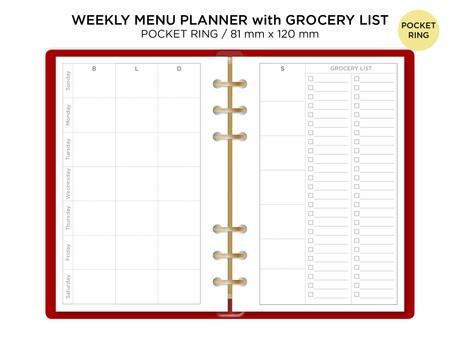 Pocket Ring MENU Planner Grocery List - Minimalist - Weekly View - Filofax Printable Planner