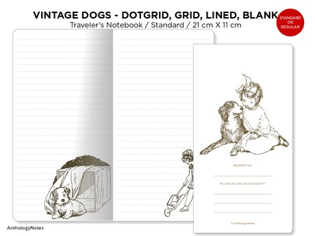 Traveler's Notebook Printable Insert, Vintage Dogs Pet, Dog Lover's Art Journal, Dot Grid, Grid