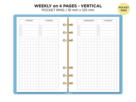Weekly View on 4 Pages Filofax Pocket Ring Printable Refill Planner Minimalist with Tracker - Grid