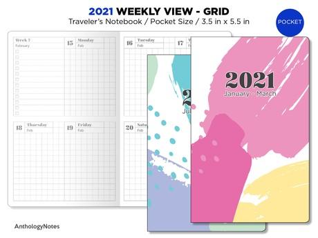 2021 POCKET Weekly GRID Traveler's Notebook Printable Planner Insert Bonus:2020