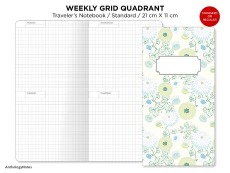 Standard Week on 4 Pages Traveler's Notebook GRID Printable Insert Wo4p Minimalist Horizontal