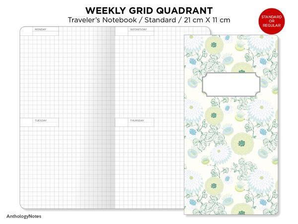Standard Week on 4 Pages Traveler's Notebook GRID Printable Insert Wo4p Minimalist Horizontal