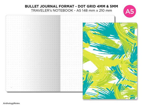 Bullet Journal DOT GRID - Traveler's Notebook A5 Bujo Format - Numbered Pages, Key Page, Index Page