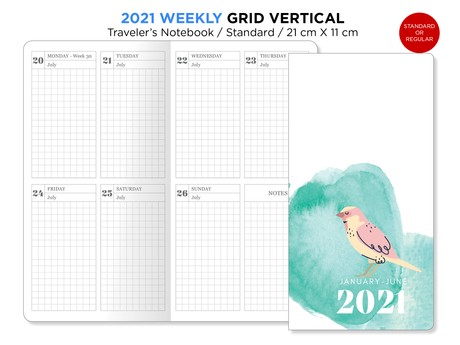 2021 Weekly GRID Traveler's Notebook Printable Wo2P Vertical Standard Regular Size TN BONUS: 2020