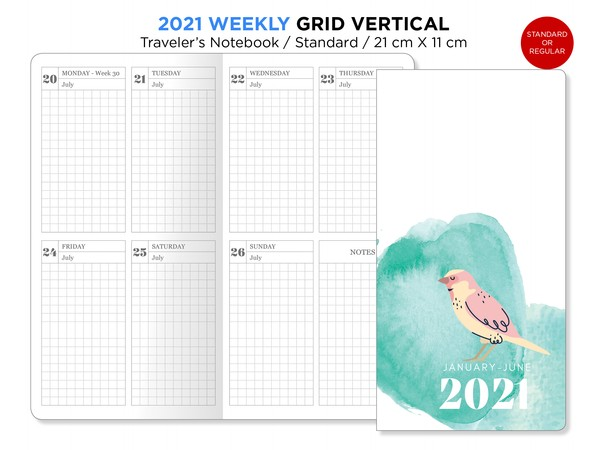 2021 Weekly GRID Traveler's Notebook Printable Wo2P Vertical Standard Regular Size TN BONUS: 2020