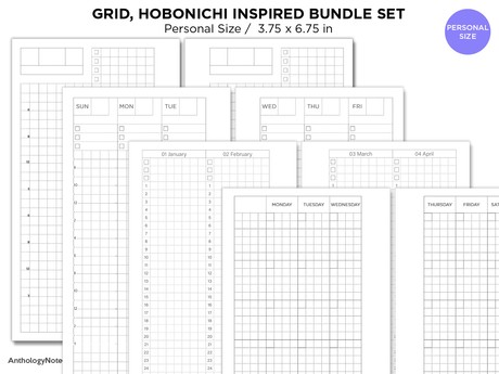 Personal Filofax Hobonichi Inspired BUNDLE Set - Monthly, Weekly, Year at A Glance, Daily Page