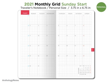 2021 Monthly SUNDAY Start GRID Personal Traveler's Notebook Hobonichi Inspired Printable Insert