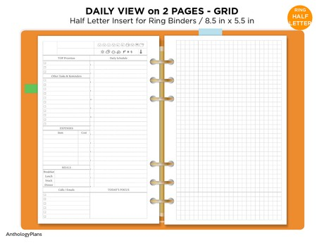 Half Letter Daily on 2 Pages Printable Filofax Refill Insert Do2P with GRID notes Minimalist & Funct