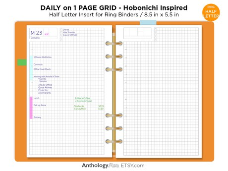 Half Letter Planner Refill Printable Insert - HOBONICHI Inspired Layout - Daily View Minimalist GRID