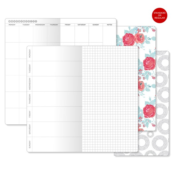 Monthly Weekly Horizontal GRID Traveler's Notebook Standard Size Printable Insert  Mo2P Wo1P Grid Un