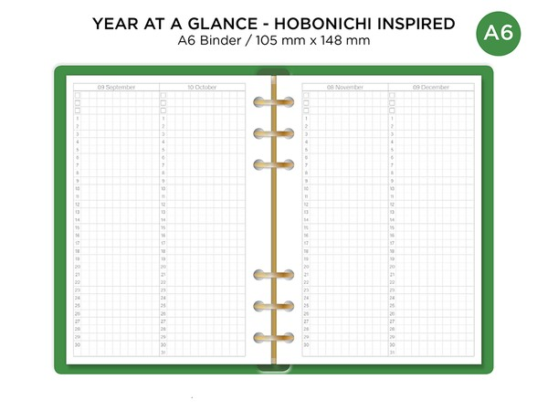 A6 Ring Monthly Index Year-At-Glance Hobonichi Inspired - Filofax Ring Binder Printable Insert