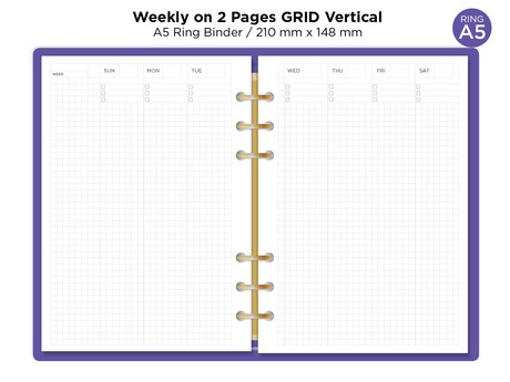 RING A5 - Weekly GRID Vertical - Printable Planner Insert