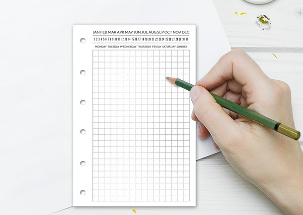 Pocket Daily GRID Filofax  Do1P - Minimalist & Functional Ring Printable Refill Undated
