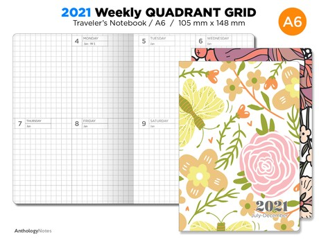 A6 2021 DIARY Traveler's Notebook Weekly GRID Quadrant Printable Insert Bonus: 2020 Included