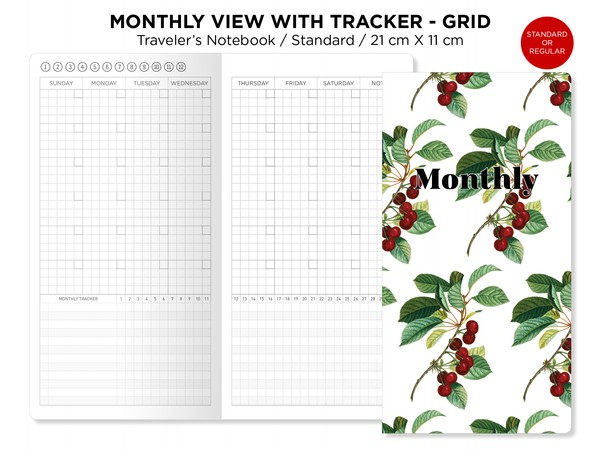 Monthly View With Tracker GRID Traveler's Notebook Printable Insert Standard Size Functional Grid