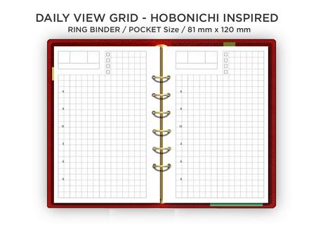 Filofax Pocket Daily GRID - Hobonichi Inspired Layout - Do1P - Minimalist & Functional Printable