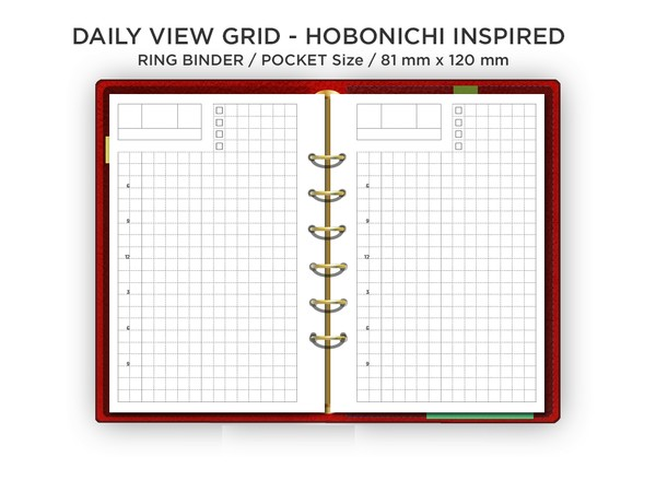 Filofax Pocket Daily GRID - Hobonichi Inspired Layout - Do1P - Minimalist & Functional Printable