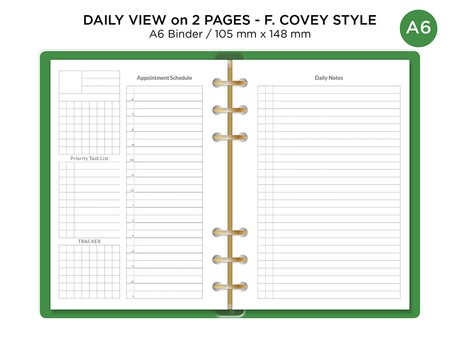 A6 Ring DAILY VIEW on 2 Pages Spread Minimalist Functional Printable Planner Refill