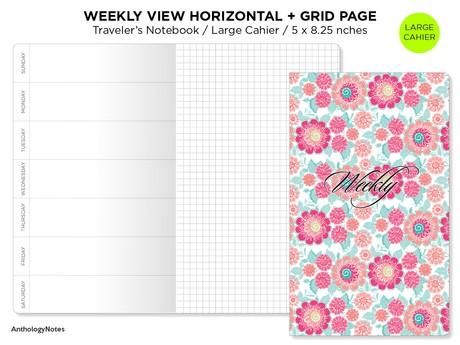 Cahier Weekly Insert - Traveler's Notebook Printable - LARGE - Wo2P Horizontal - Minimalist & Functi