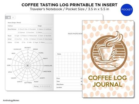 Pocket Coffee Tasting Log Journal - Traveler's Notebook - PDF Printable Insert CAFE Log