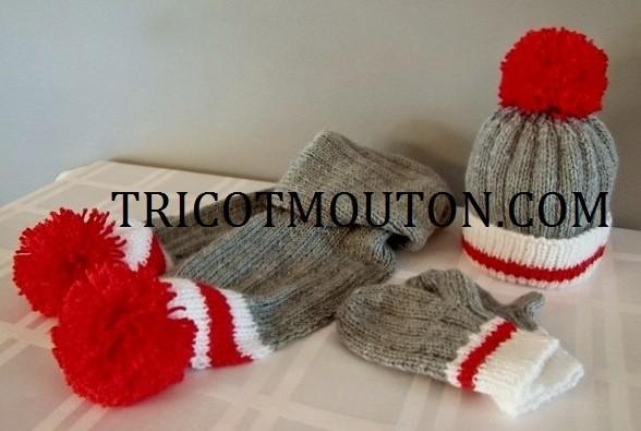 TFBB-01   Tuque, foulard et mitaines pour bébé (Collection du Pays)