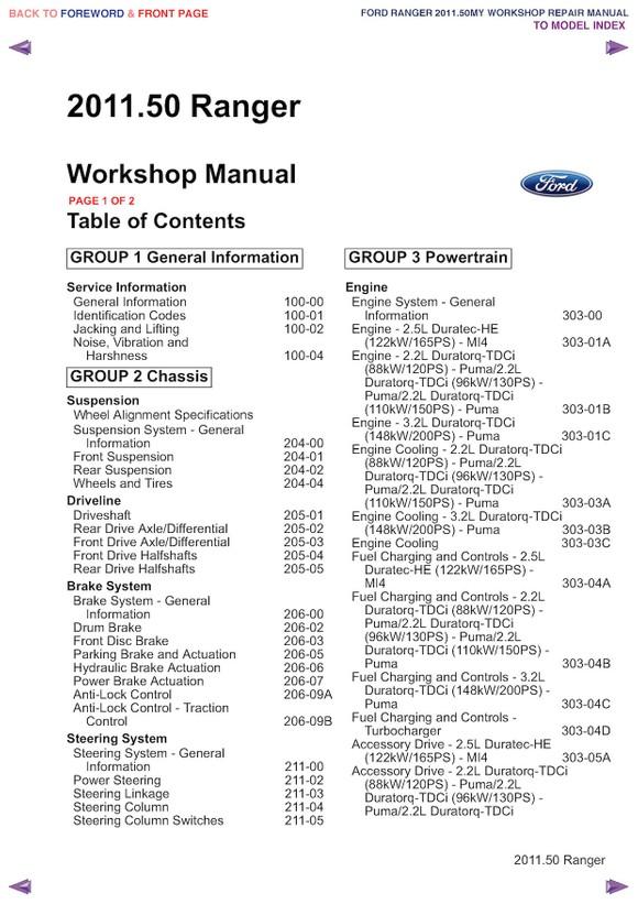 ford ranger repair manual pdf